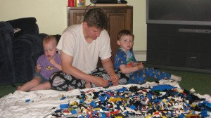 Alan and the kids playing with Legos