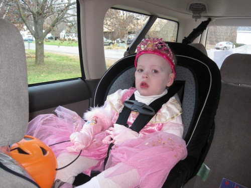 I suspect this chariot is unbefitting of a princess :) She was actually confused as to why we were getting in the car to go trick-or-treating.