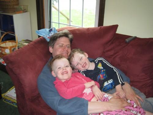 Cuddling with daddy