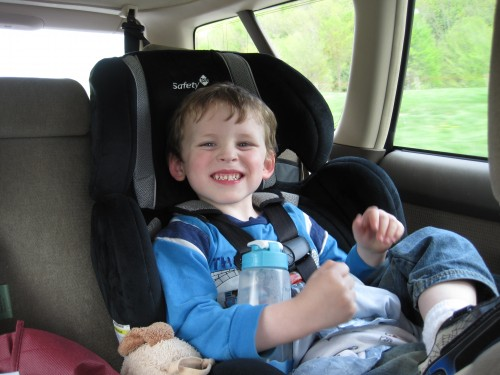 Smiling in the car