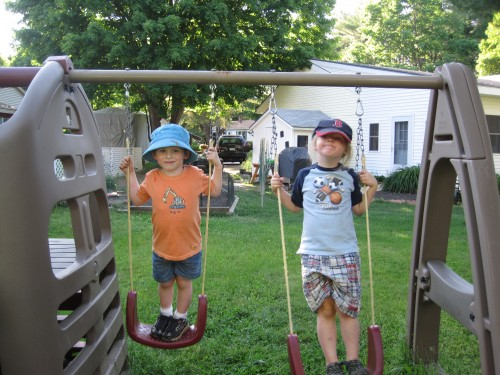 Boys on swings