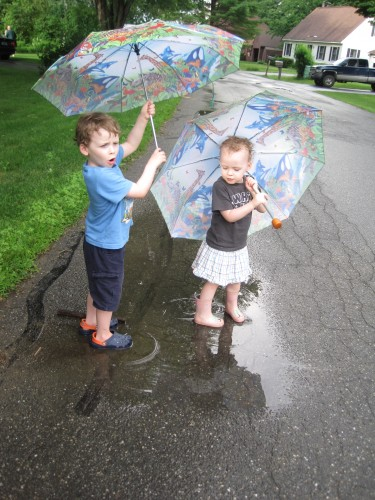 Kids in puddles