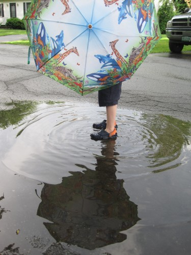 Feet in puddles