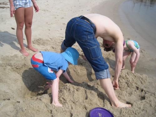 family digging