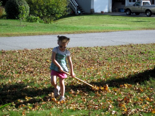 diva raking leaves