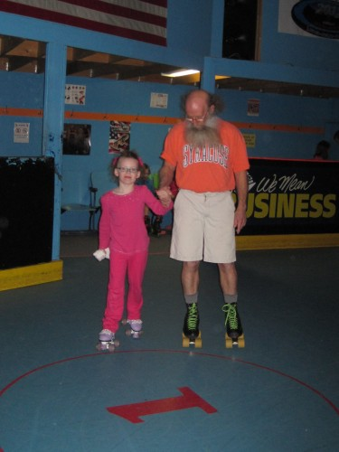 Skating with Grandpa Tom.