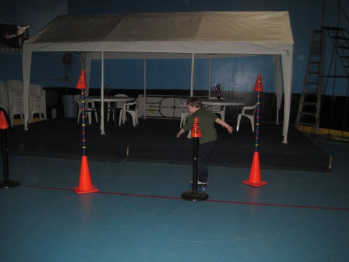 Lex was praticing his slalom skills around the cones.