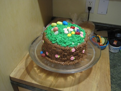 An Easter basket cake