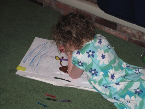 "Aunt Katie gave Eve a big drawing pad and new markers.  Eve promptly drew a picture of Katie on a horse.  Then she wrote, ""Dear Kadey. I love you.  Love ges hoo."""