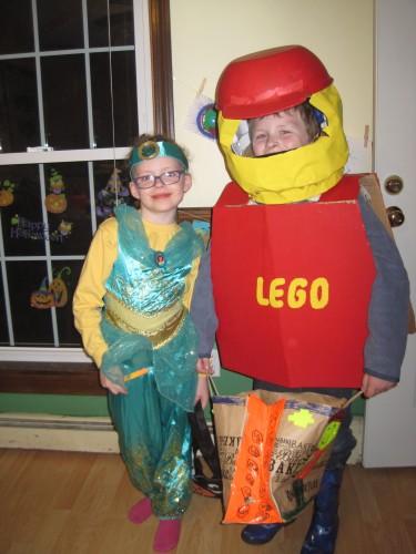 Princess Jasmine and a Lego Man.