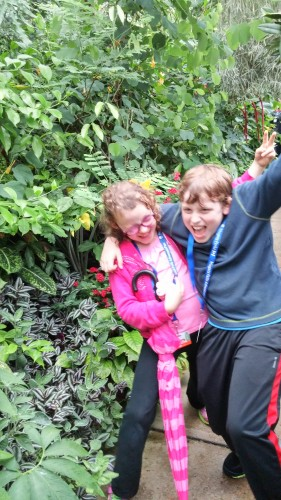 Rocking out at the Floral Showhouse.  It wasn't a terribly exciting place so the kids made their own fun.