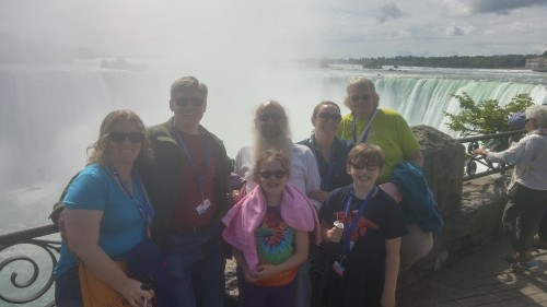 Foggy family.  My camera was misty from the Journey Behind the Falls.