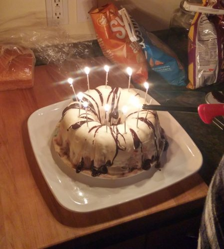 I'm very proud of my ice cream cake. It was lovely and yummy, and only a little stressful trying to get the candles lit before it melted everywhere!